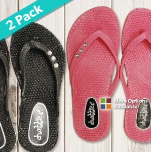 aa6daa6e2 Ladies Comfort Flip Flops With Rhinestone Accents 2-Pack Only  12.99 ...